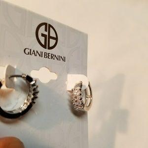 Sterling Silver CZ Giani Bernini Huggies Earrings